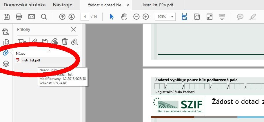 Kde najít přílohy k PDF dokumentu